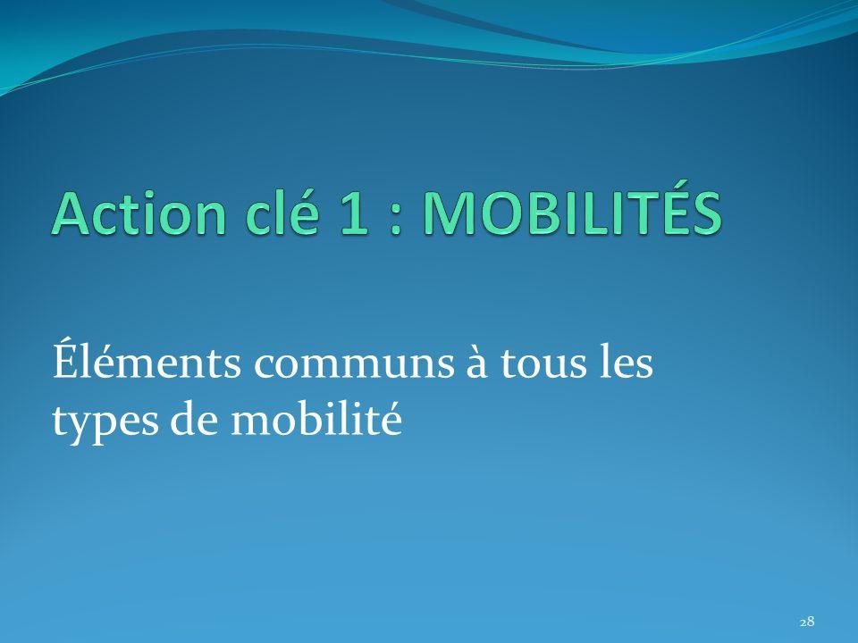 Action clé 1 : MOBILITÉS Éléments communs à tous les types de mobilité