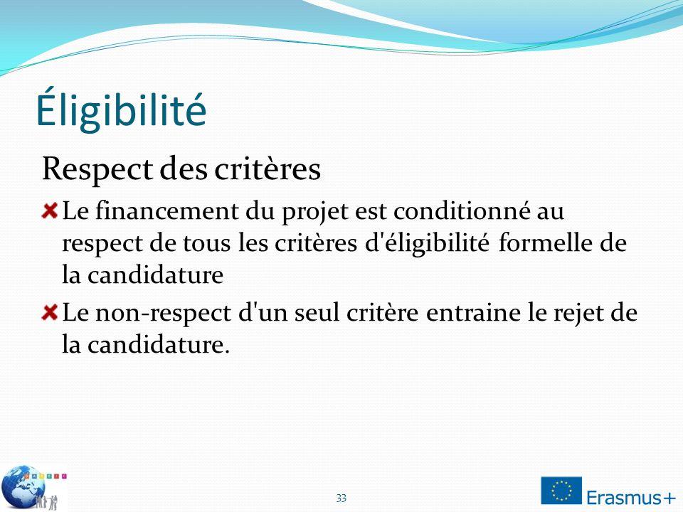 Éligibilité Respect des critères