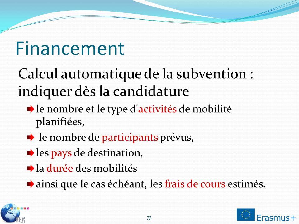 Financement Calcul automatique de la subvention : indiquer dès la candidature. le nombre et le type d activités de mobilité planifiées,