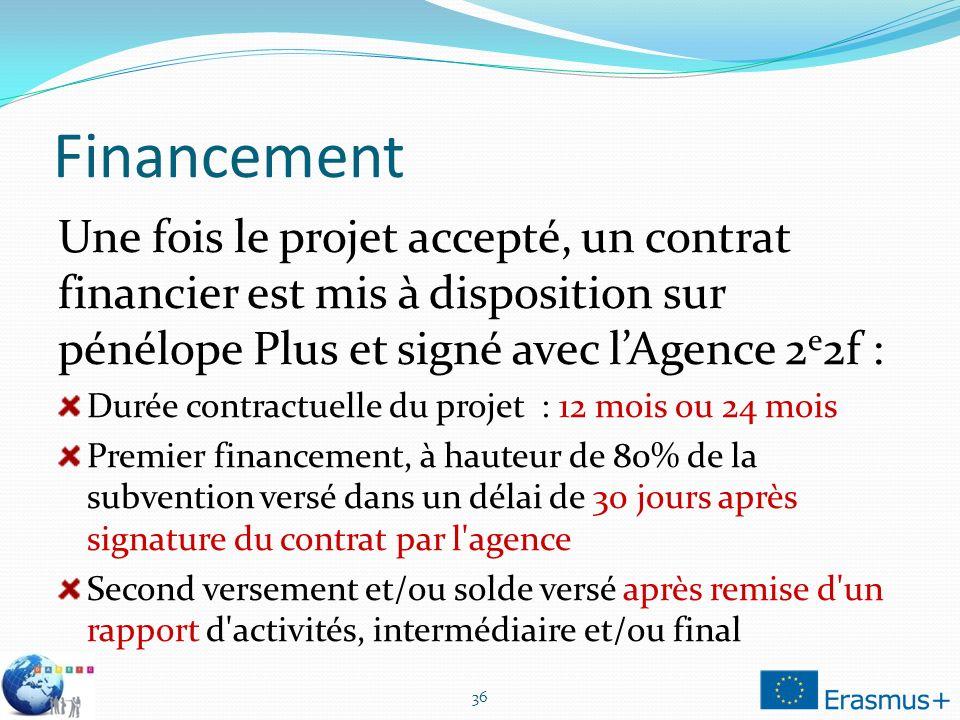 Financement Une fois le projet accepté, un contrat financier est mis à disposition sur pénélope Plus et signé avec l'Agence 2e2f :