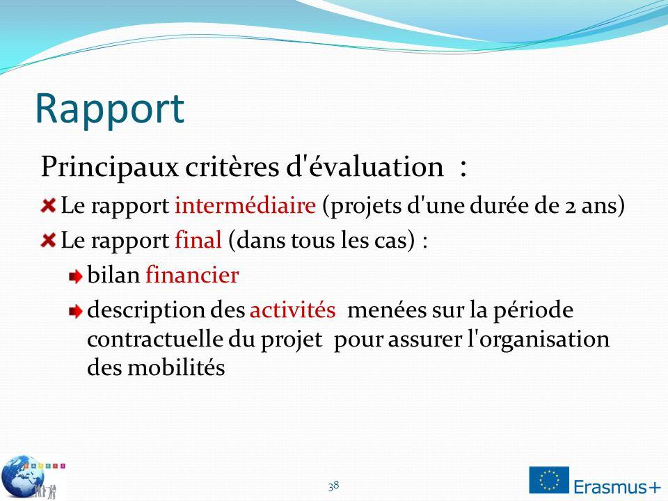 Rapport Principaux critères d évaluation :