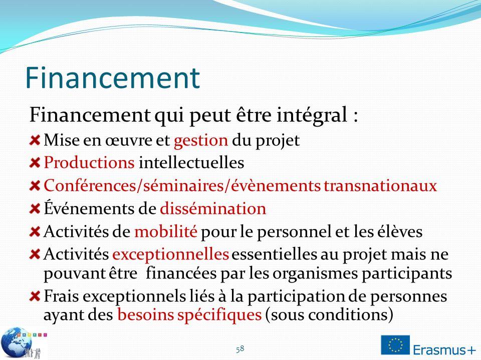 Financement Financement qui peut être intégral :