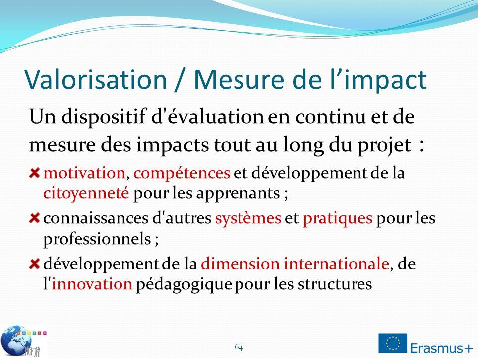 Valorisation / Mesure de l'impact