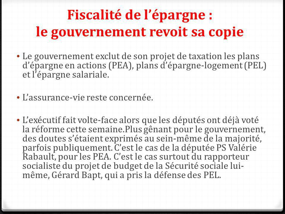 Fiscalité de l'épargne : le gouvernement revoit sa copie