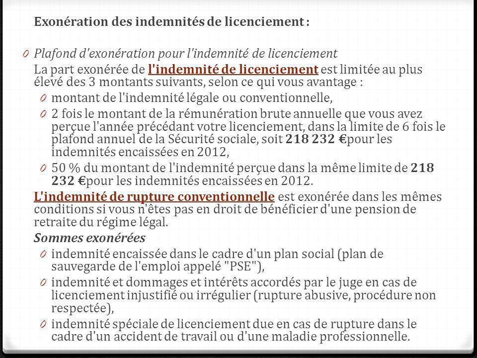 Exonération des indemnités de licenciement :