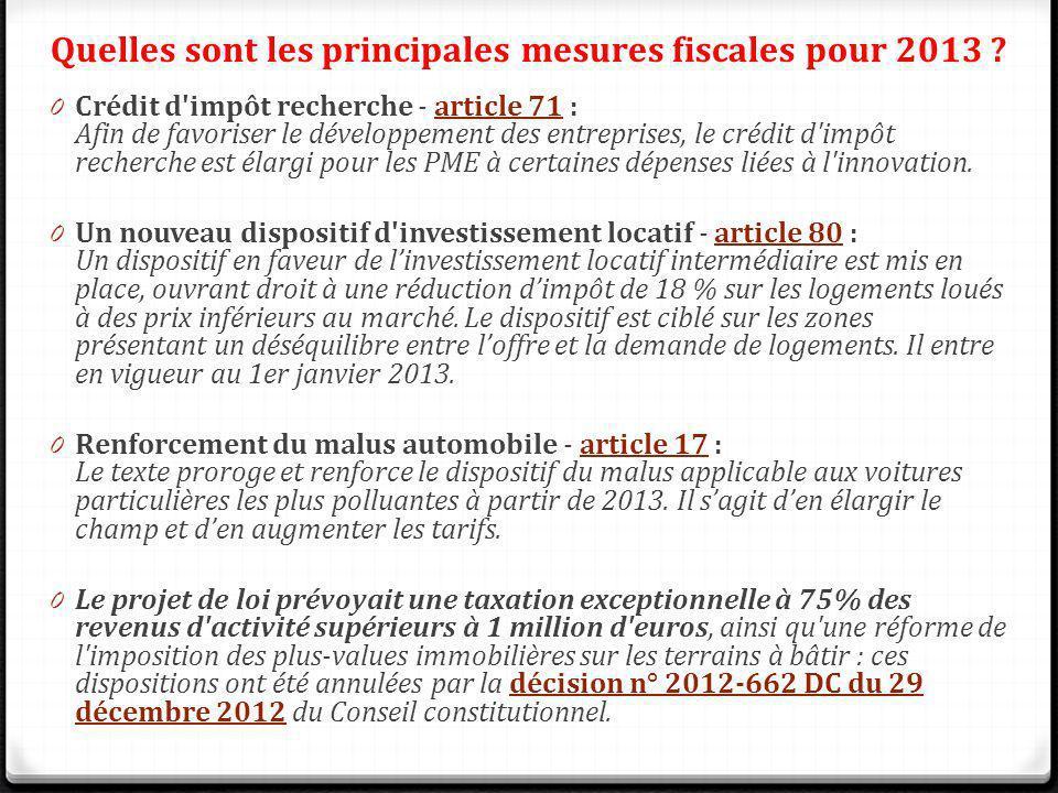Quelles sont les principales mesures fiscales pour 2013