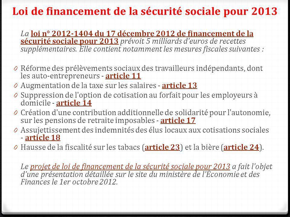 Loi de financement de la sécurité sociale pour 2013