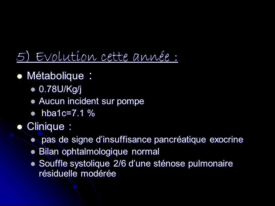 5) Evolution cette année :