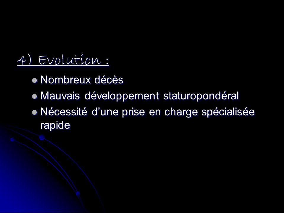 4) Evolution : Nombreux décès Mauvais développement staturopondéral
