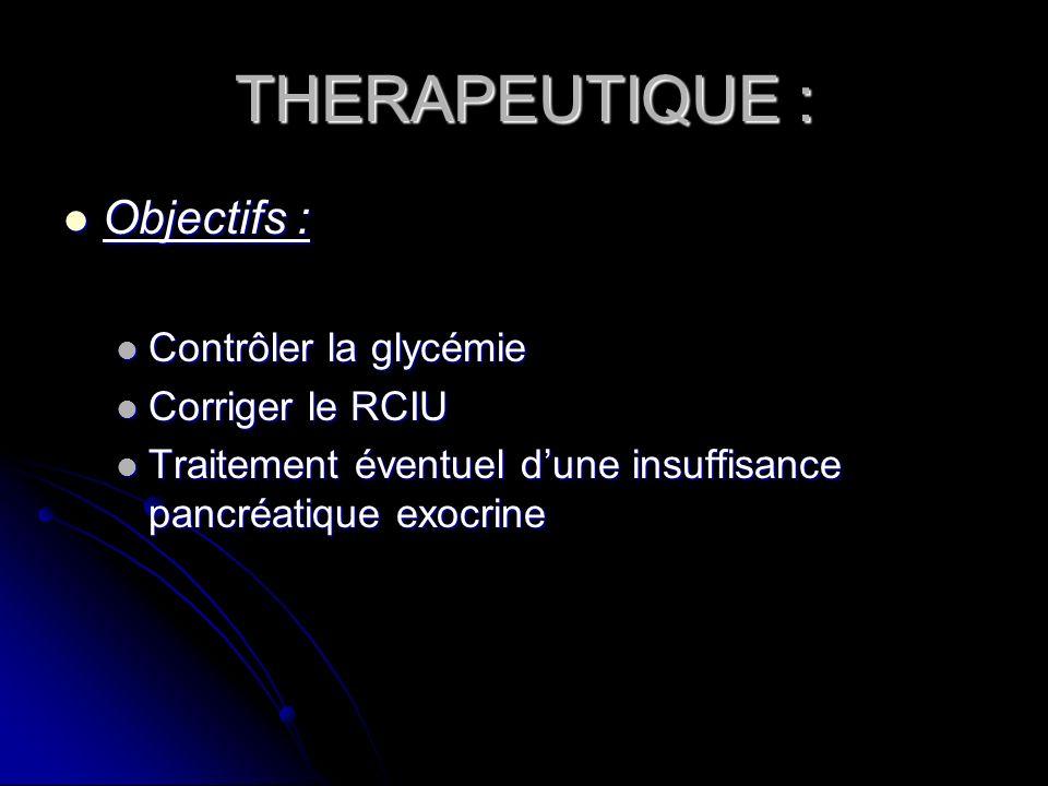 THERAPEUTIQUE : Objectifs : Contrôler la glycémie Corriger le RCIU