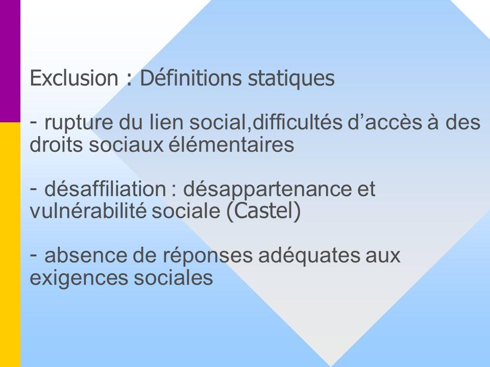 Exclusion : Définitions statiques - rupture du lien social,difficultés d'accès à des droits sociaux élémentaires - désaffiliation : désappartenance et vulnérabilité sociale (Castel) - absence de réponses adéquates aux exigences sociales