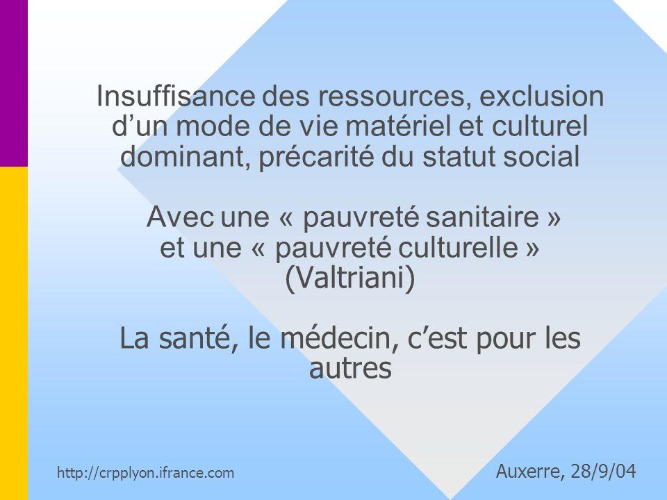 Insuffisance des ressources, exclusion d'un mode de vie matériel et culturel dominant, précarité du statut social Avec une « pauvreté sanitaire » et une « pauvreté culturelle » (Valtriani) La santé, le médecin, c'est pour les autres