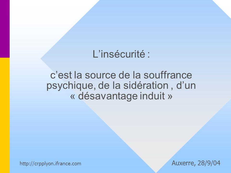 L'insécurité : c'est la source de la souffrance psychique, de la sidération , d'un « désavantage induit »