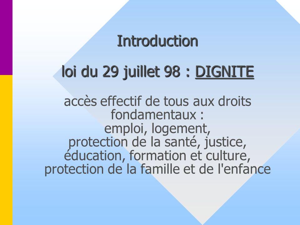 Introduction loi du 29 juillet 98 : DIGNITE accès effectif de tous aux droits fondamentaux : emploi, logement, protection de la santé, justice, éducation, formation et culture, protection de la famille et de l enfance