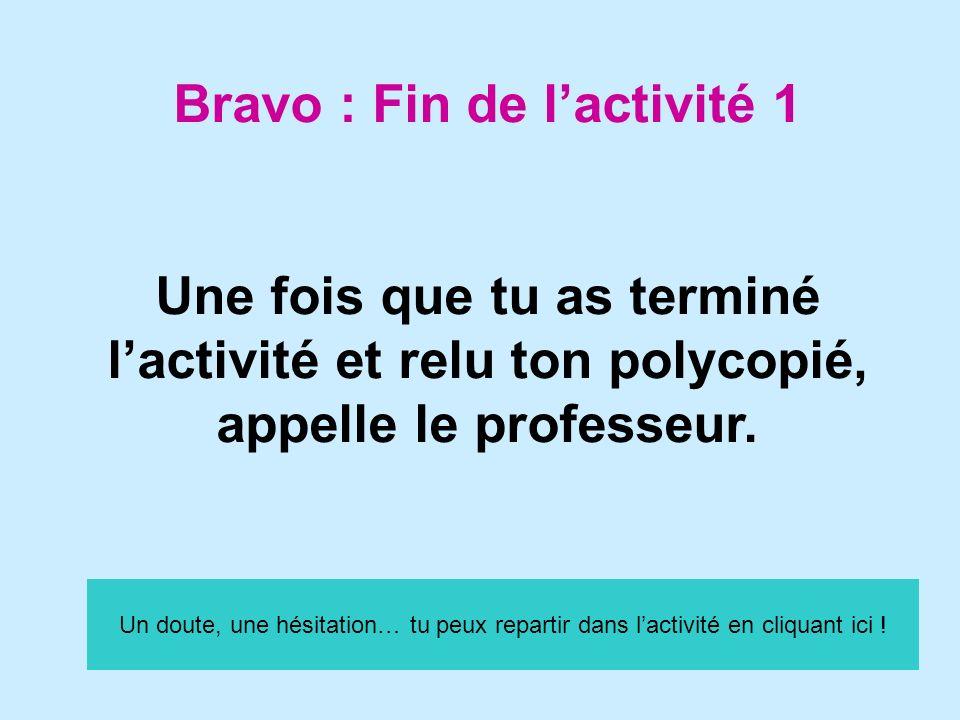 Bravo : Fin de l'activité 1