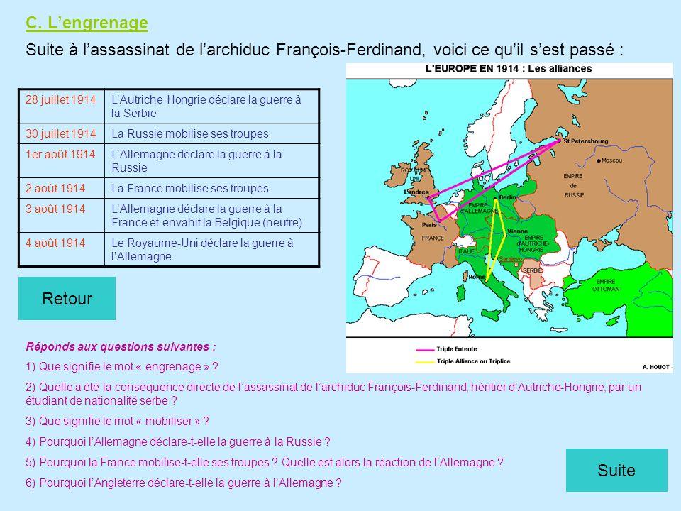C. L'engrenage Suite à l'assassinat de l'archiduc François-Ferdinand, voici ce qu'il s'est passé : 28 juillet 1914.