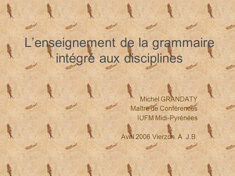 L'enseignement de la grammaire intégré aux disciplines