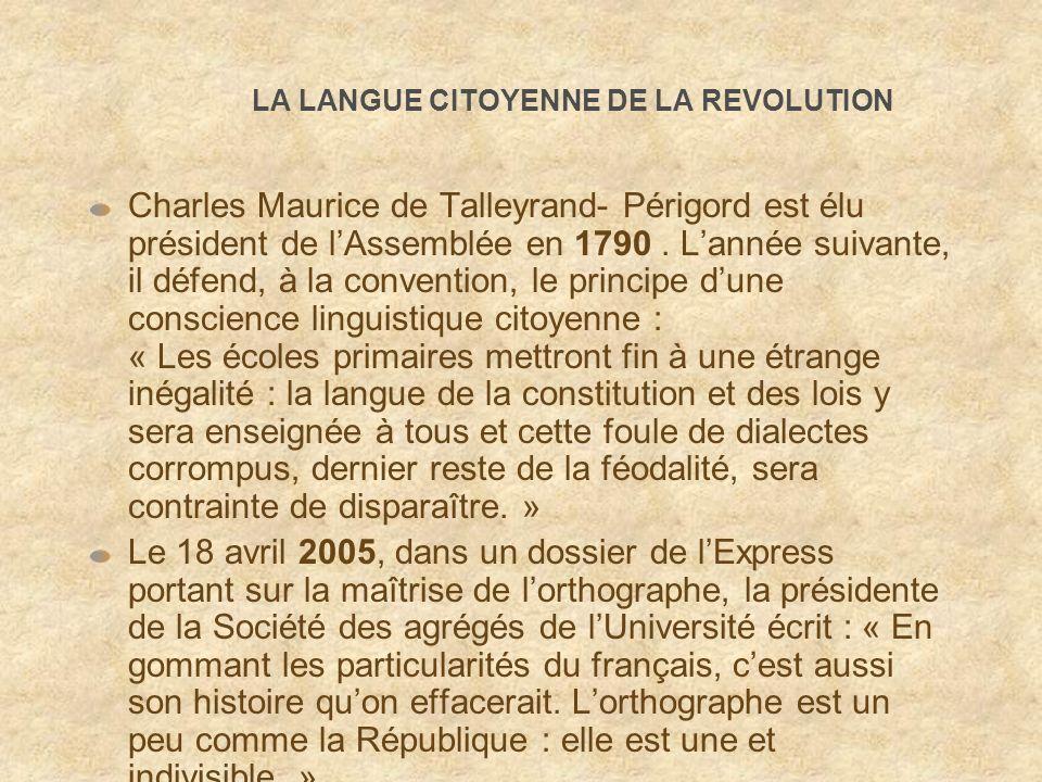 LA LANGUE CITOYENNE DE LA REVOLUTION