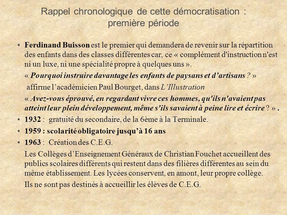 Rappel chronologique de cette démocratisation : première période
