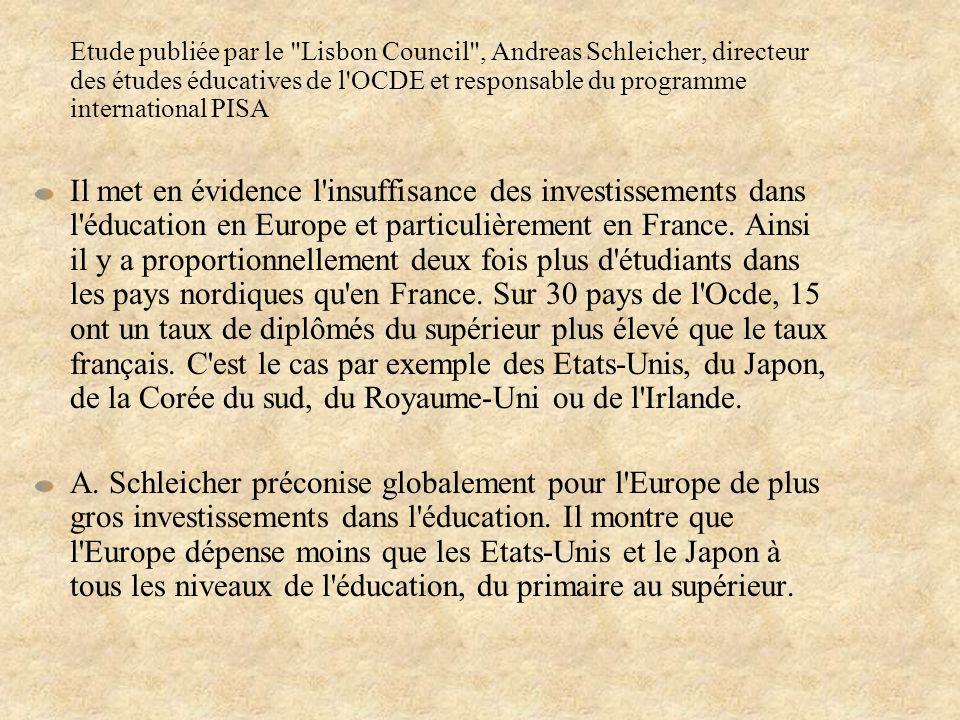 Etude publiée par le Lisbon Council , Andreas Schleicher, directeur des études éducatives de l OCDE et responsable du programme international PISA