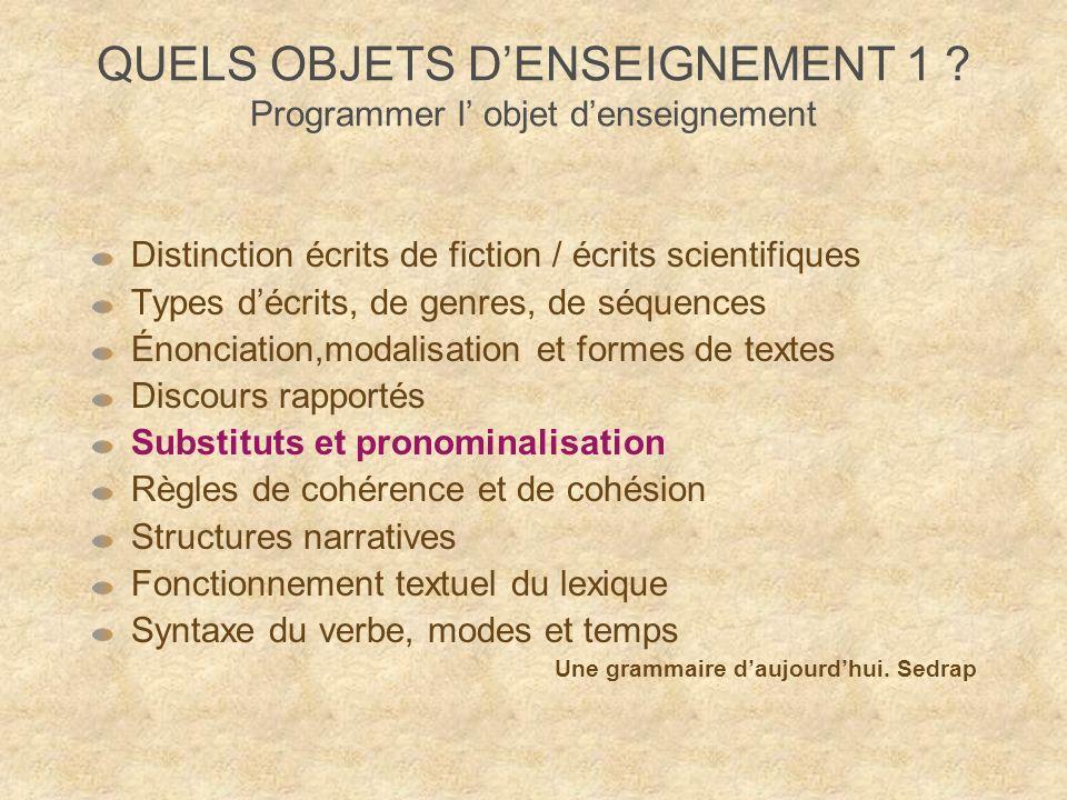 QUELS OBJETS D'ENSEIGNEMENT 1 Programmer l' objet d'enseignement
