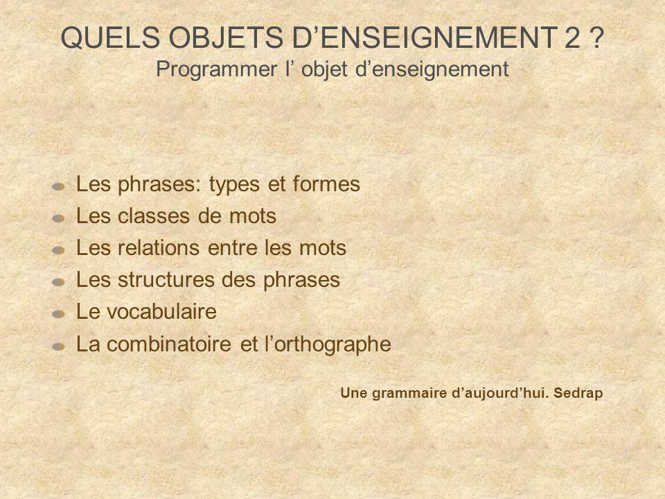 QUELS OBJETS D'ENSEIGNEMENT 2 Programmer l' objet d'enseignement