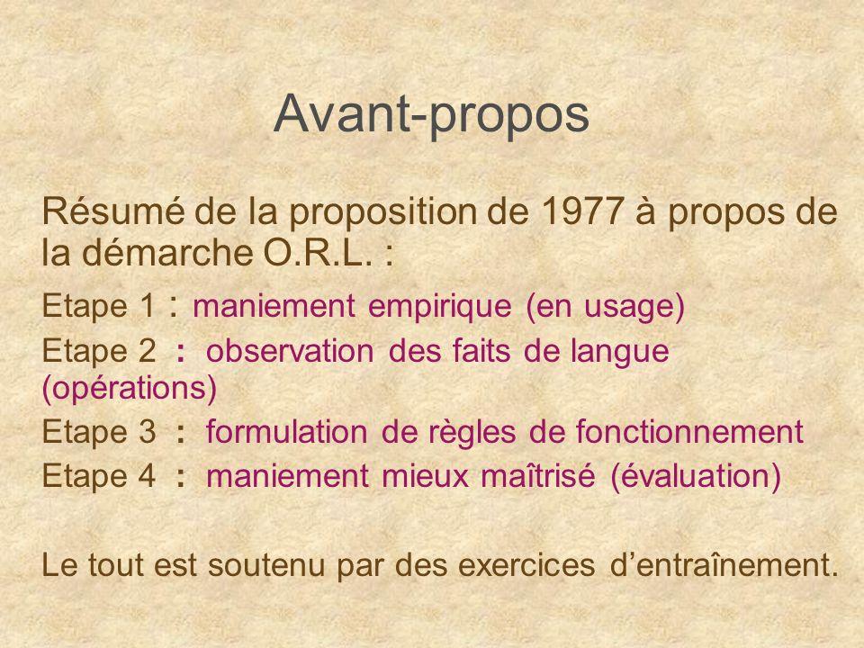 Avant-propos Résumé de la proposition de 1977 à propos de la démarche O.R.L. : Etape 1 : maniement empirique (en usage)