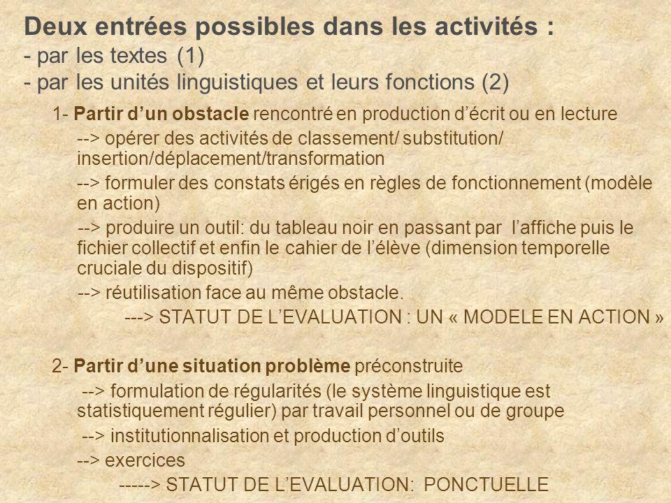 Deux entrées possibles dans les activités : - par les textes (1) - par les unités linguistiques et leurs fonctions (2)
