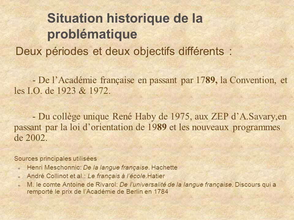 Situation historique de la problématique