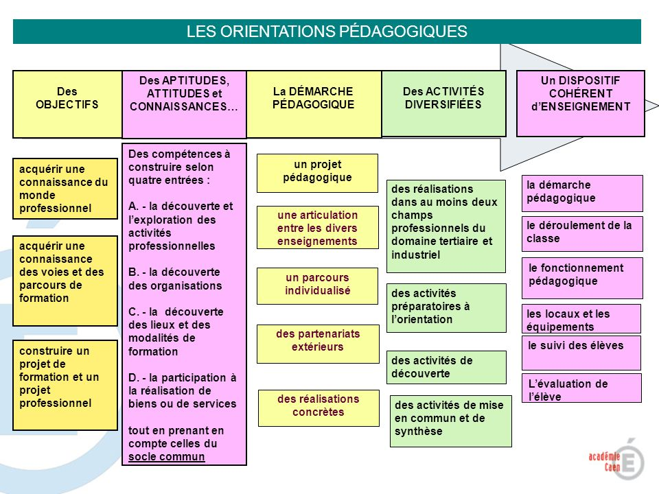 LES ORIENTATIONS PÉDAGOGIQUES