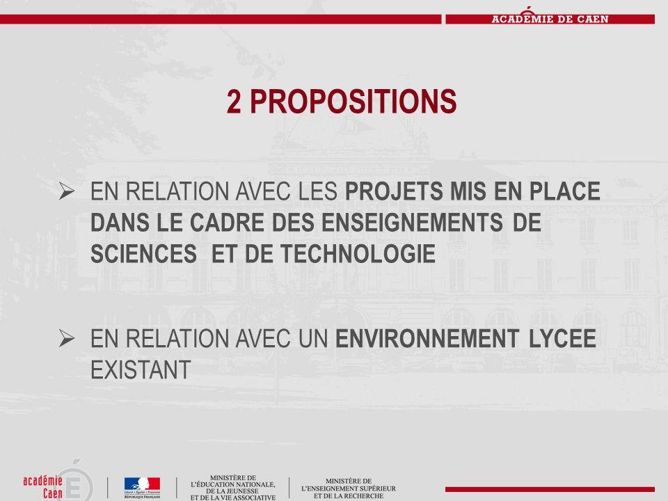 2 PROPOSITIONSEN RELATION AVEC LES PROJETS MIS EN PLACE DANS LE CADRE DES ENSEIGNEMENTS DE SCIENCES ET DE TECHNOLOGIE.