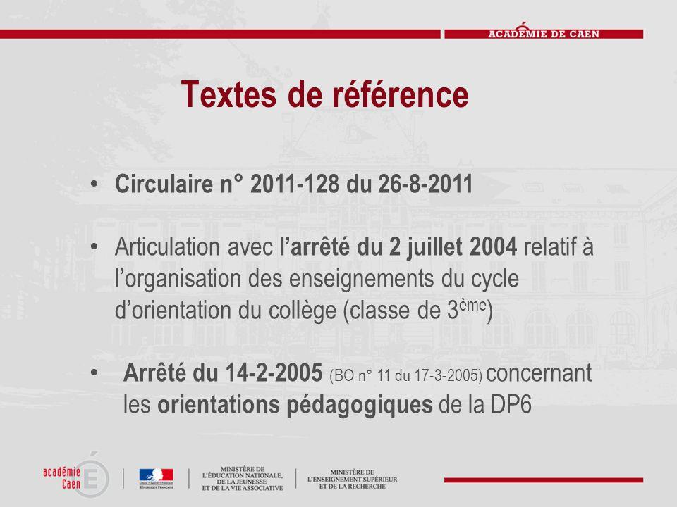 Textes de référence Circulaire n° 2011-128 du 26-8-2011