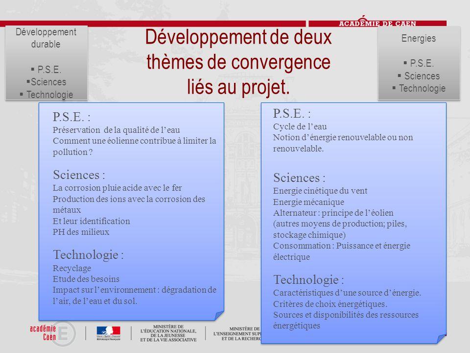 Développement de deux thèmes de convergence liés au projet.