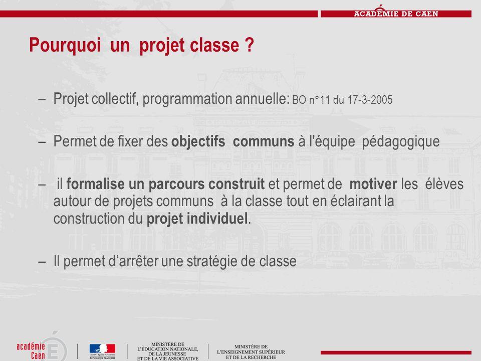 Pourquoi un projet classe