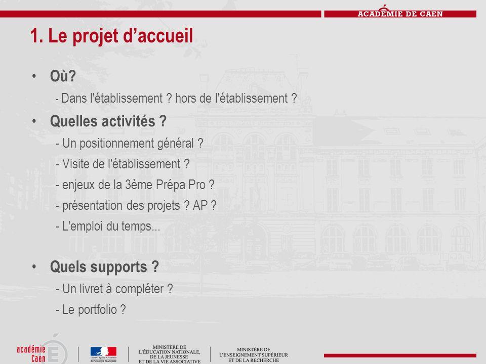 1. Le projet d'accueil Où Quelles activités Quels supports