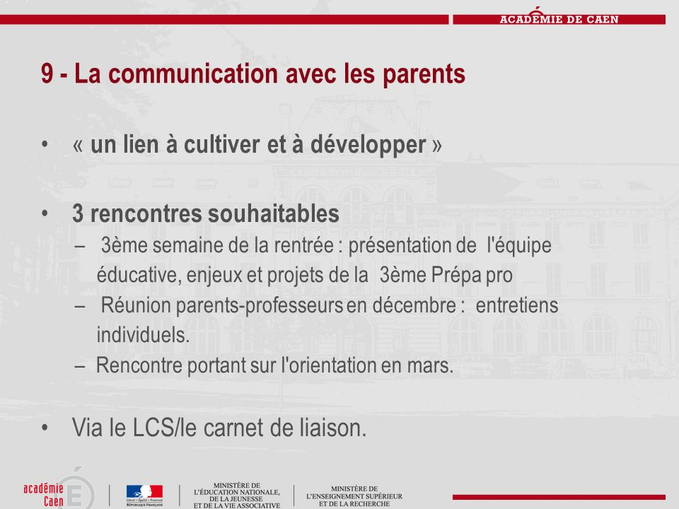 9 - La communication avec les parents