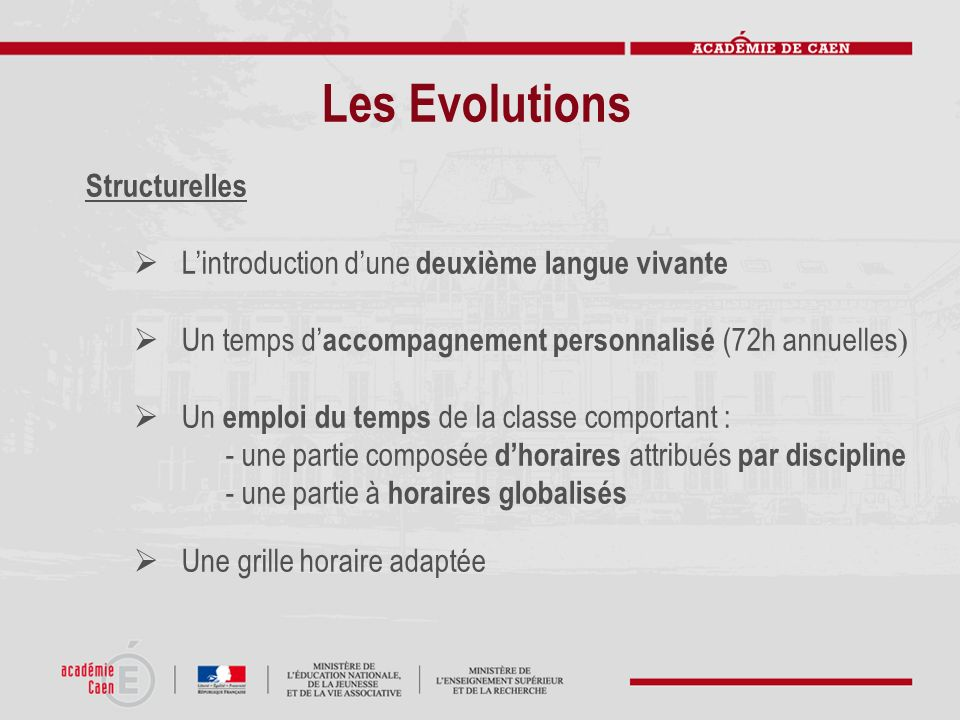 Les Evolutions Structurelles