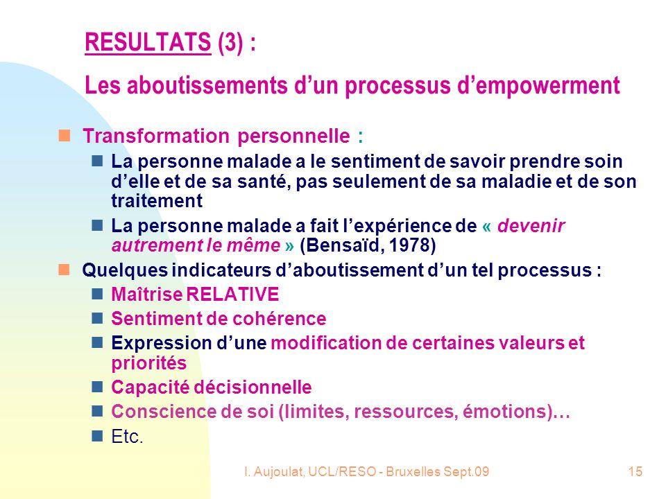 RESULTATS (3) : Les aboutissements d'un processus d'empowerment