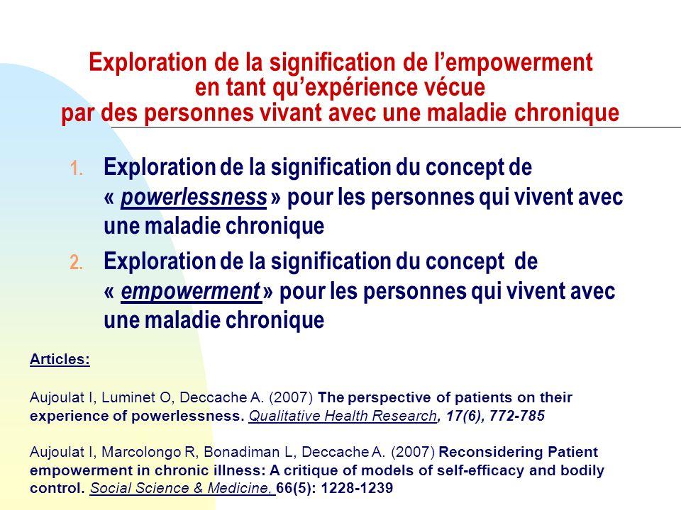 Exploration de la signification de l'empowerment en tant qu'expérience vécue par des personnes vivant avec une maladie chronique