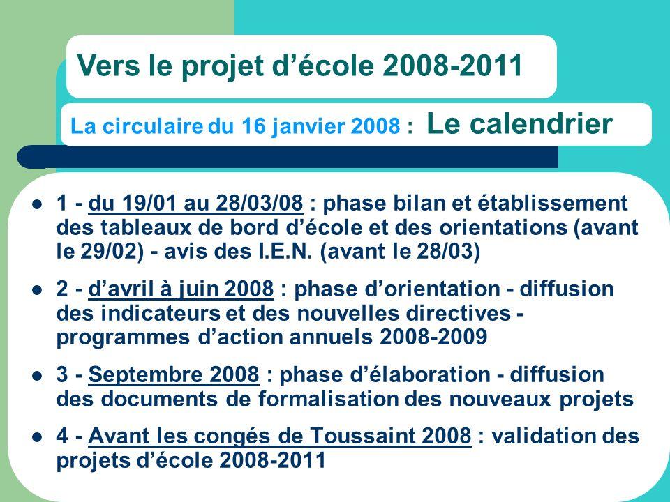 La circulaire du 16 janvier 2008 : Le calendrier