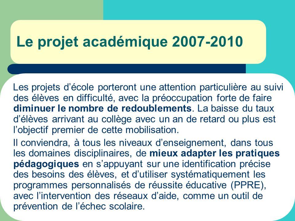 Le projet académique 2007-2010