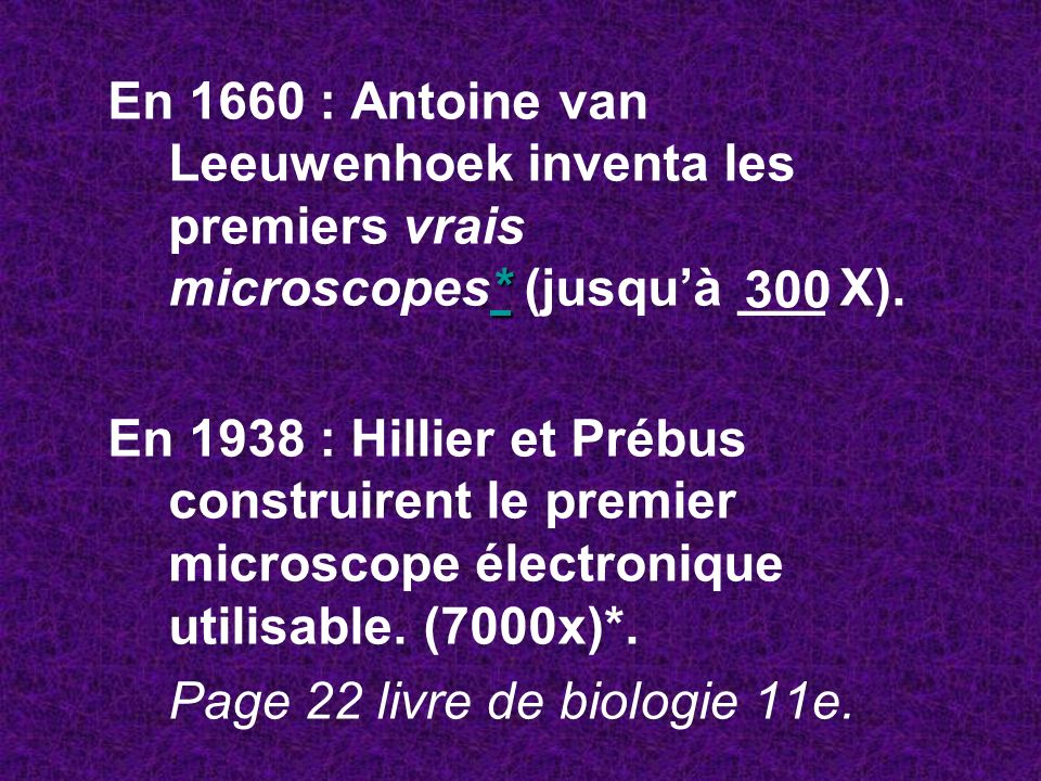 En 1660 : Antoine van Leeuwenhoek inventa les premiers vrais microscopes* (jusqu'à ___ X).