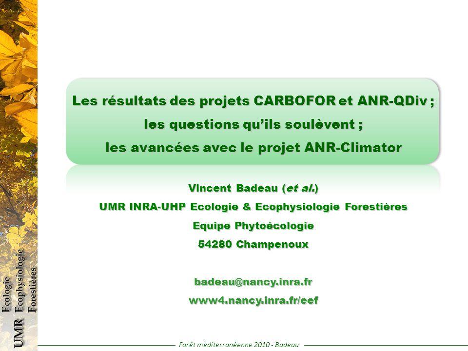 Les résultats des projets CARBOFOR et ANR-QDiv ;