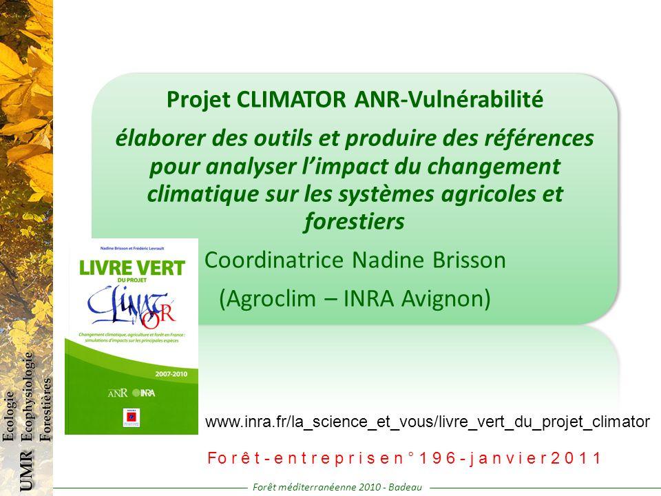 Projet CLIMATOR ANR-Vulnérabilité