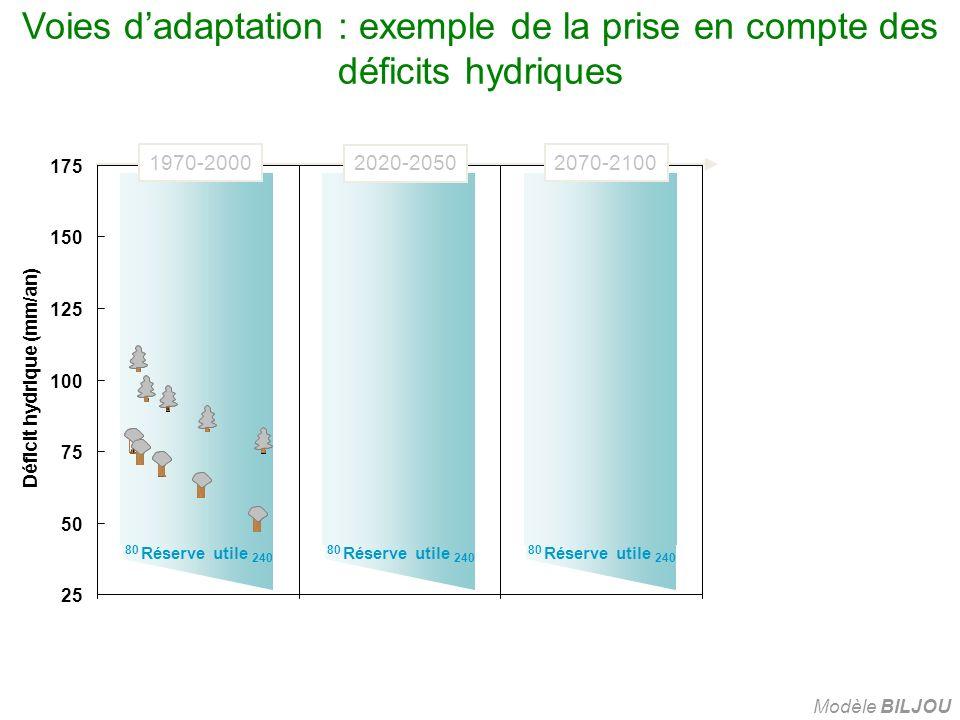 Voies d'adaptation : exemple de la prise en compte des déficits hydriques