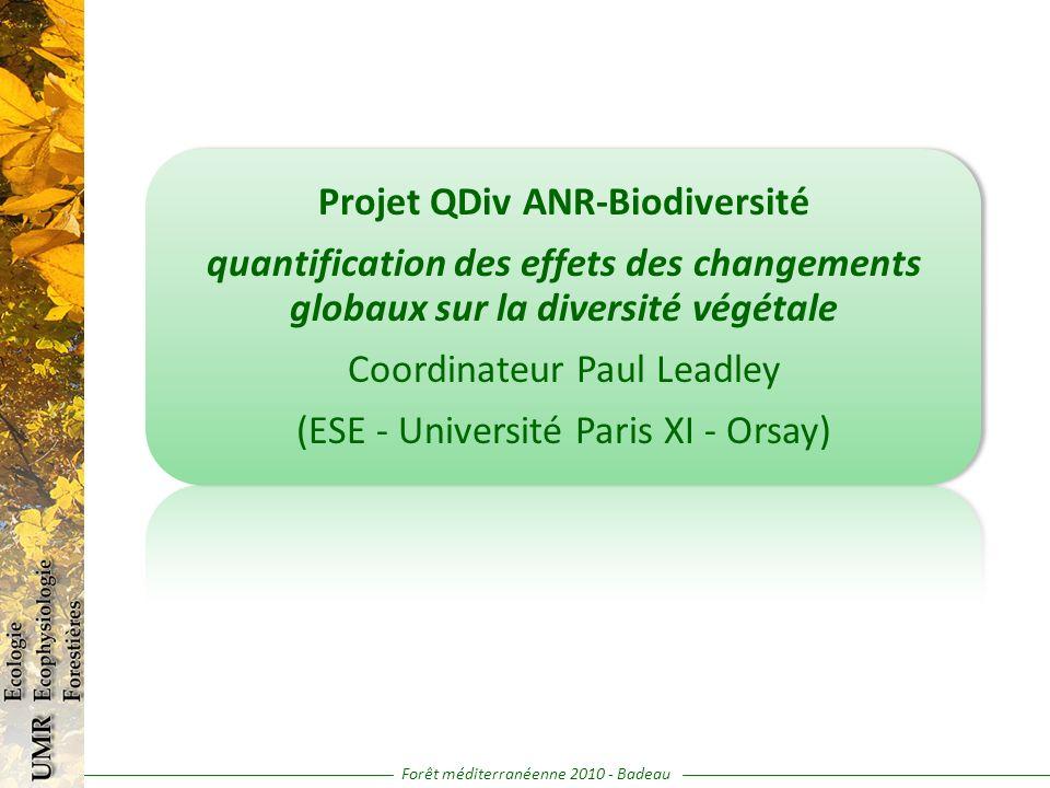 Projet QDiv ANR-Biodiversité