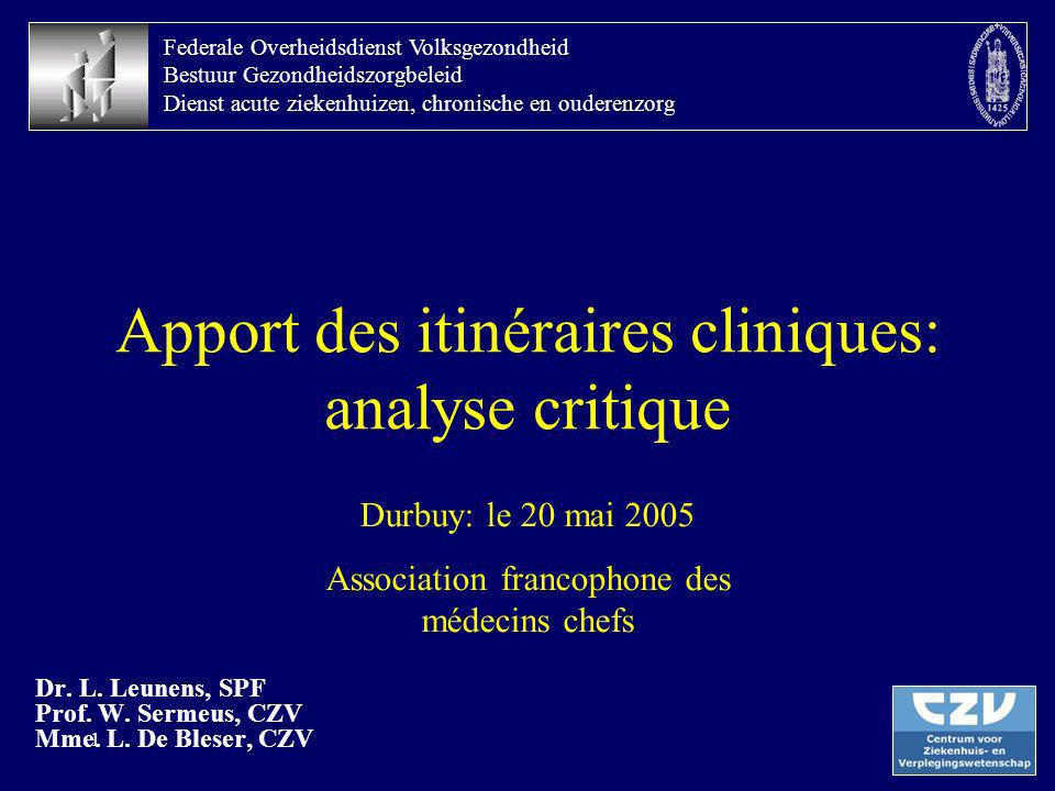 Apport des itinéraires cliniques: analyse critique
