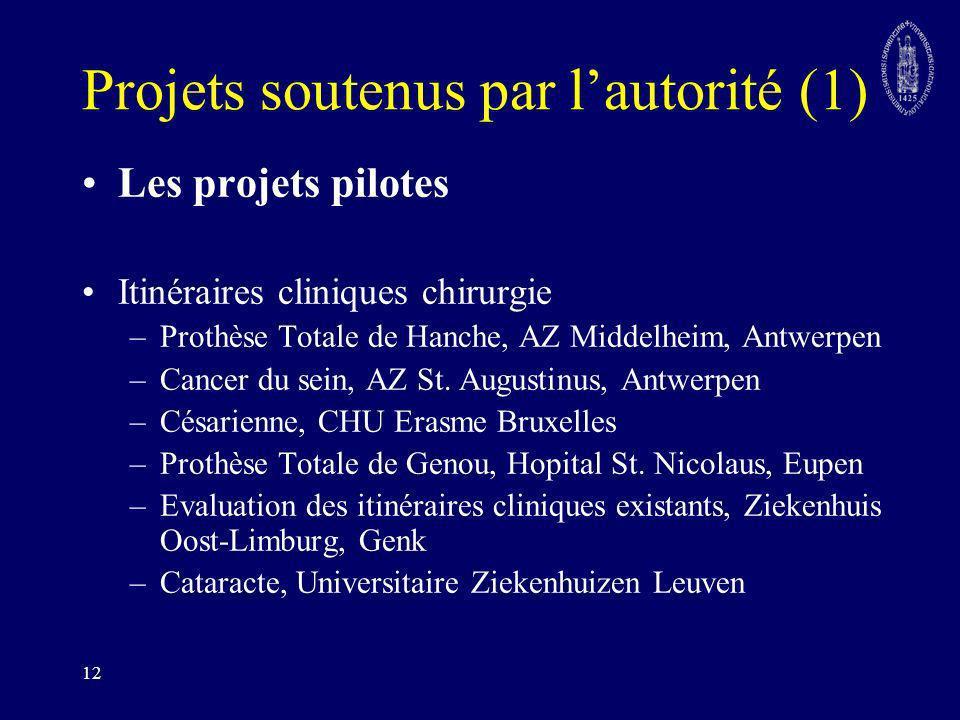 Projets soutenus par l'autorité (1)