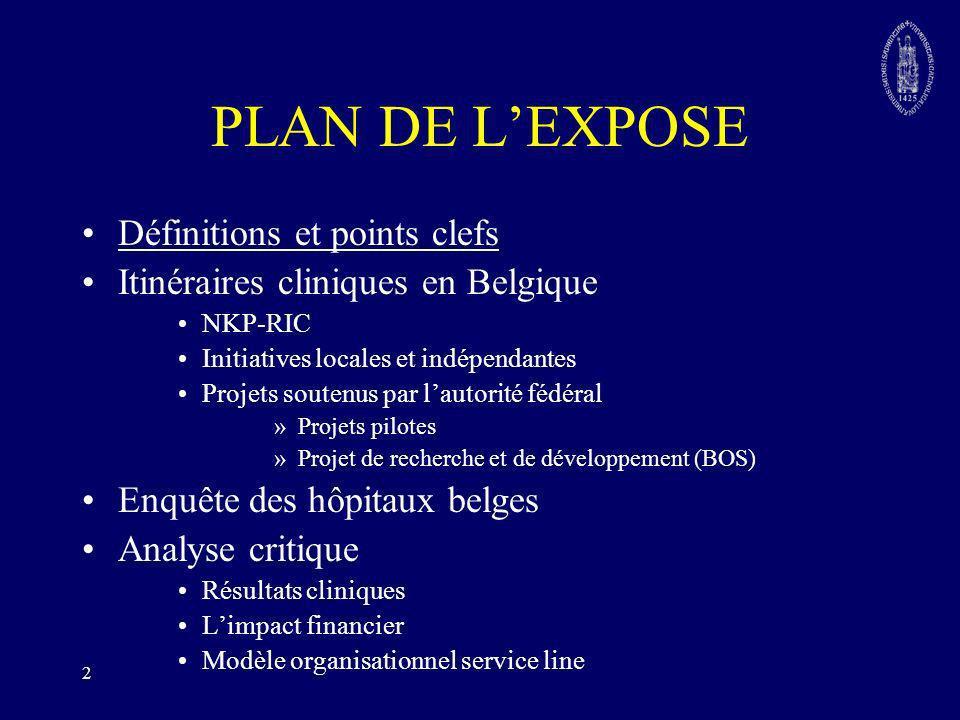 PLAN DE L'EXPOSE Définitions et points clefs