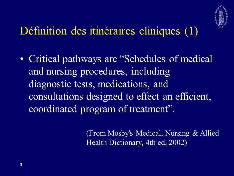Définition des itinéraires cliniques (1)